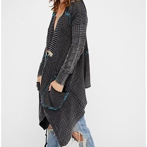 Free People All Washed Out Cardigan charcoal